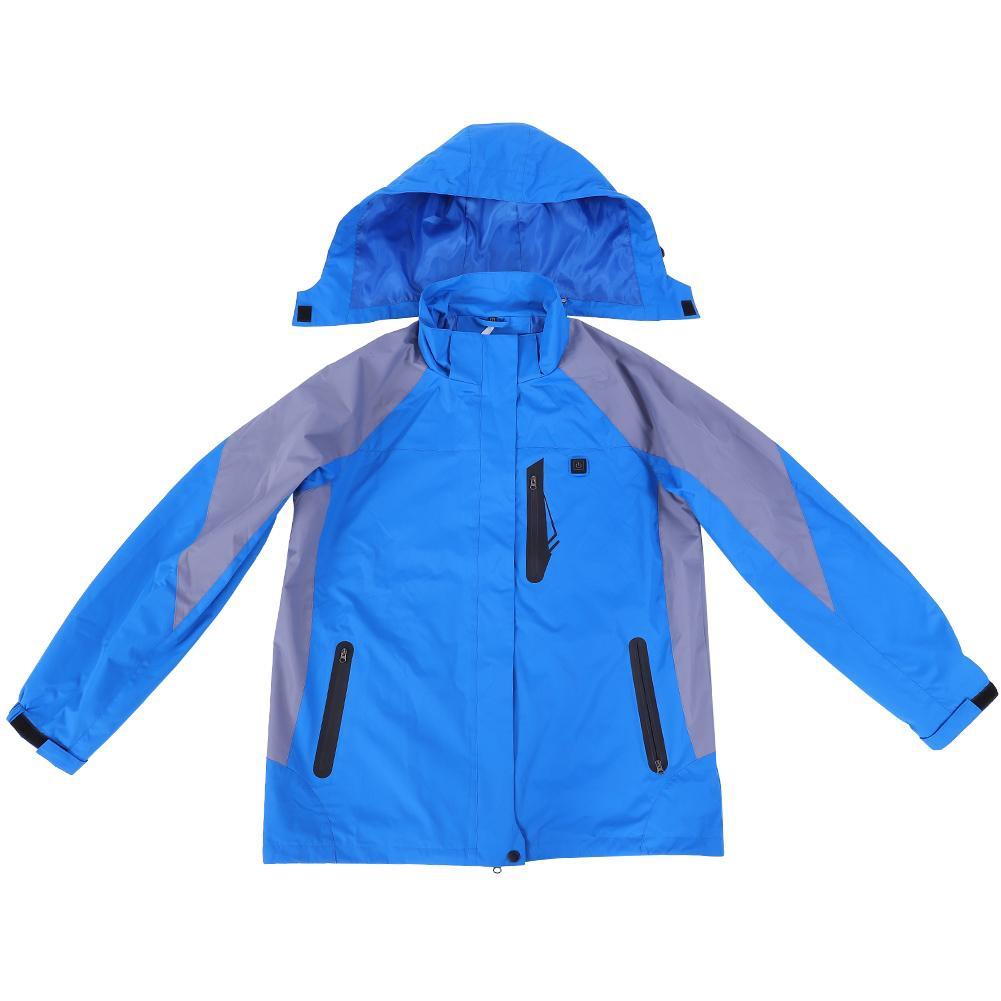 USB Electric Heating Jacket Warm Up Vest Winter Outdoor Heated Coat Blue