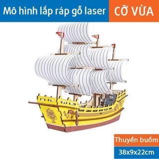 Mô hình lắp ghép gỗ 3D Laser – Thuyền buồm vàng