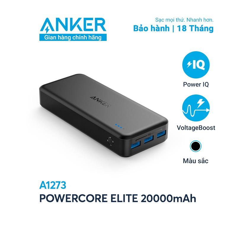 [Mã ELMALL11 giảm 6% đơn 500K] Pin sạc dự phòng ANKER PowerCore Elite 20000mAh - A1273