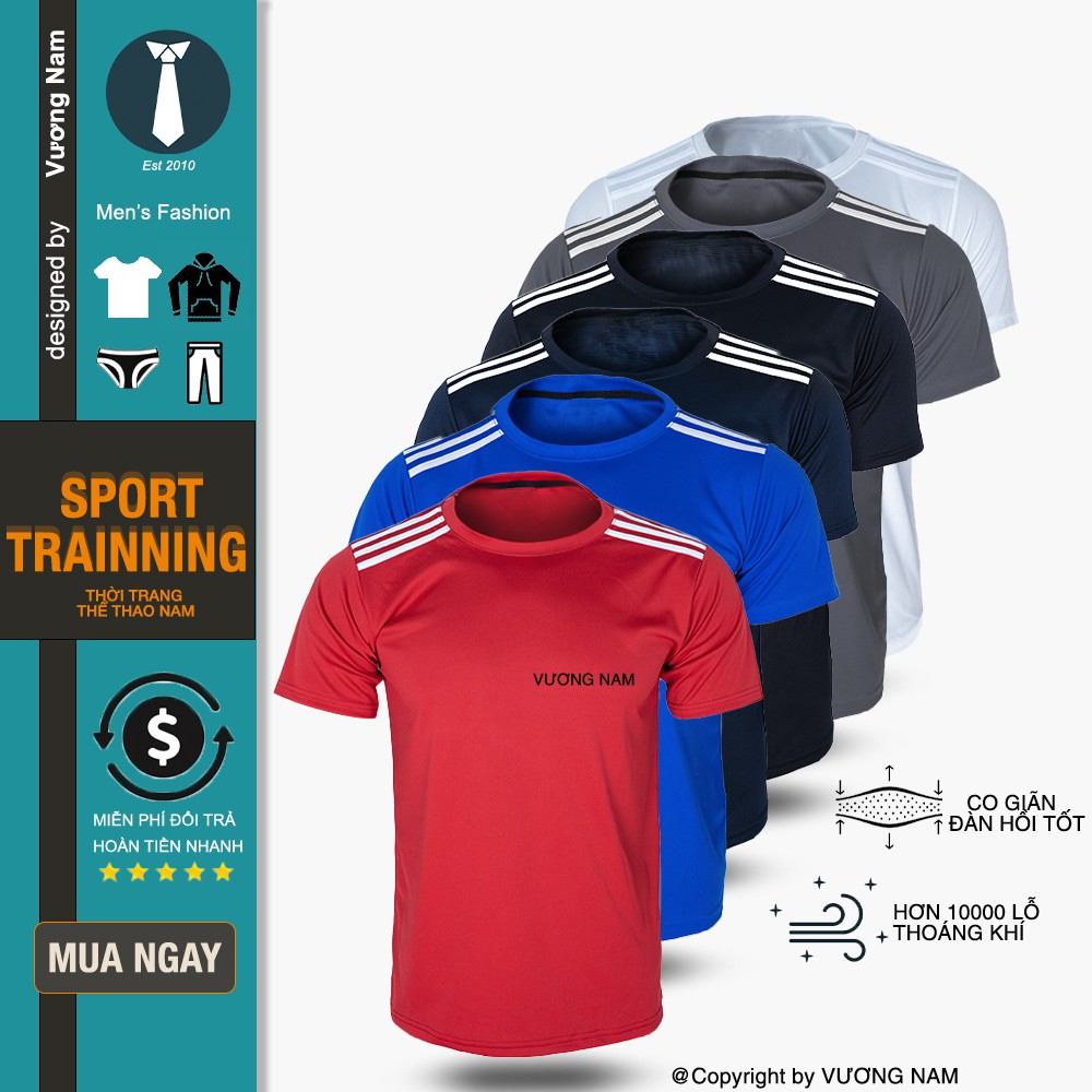 Áo thun nam thể thao tay ngăn cổ tròn đá bóng, tập gym chất vải vải xuất dư nhiều loại có size lớn