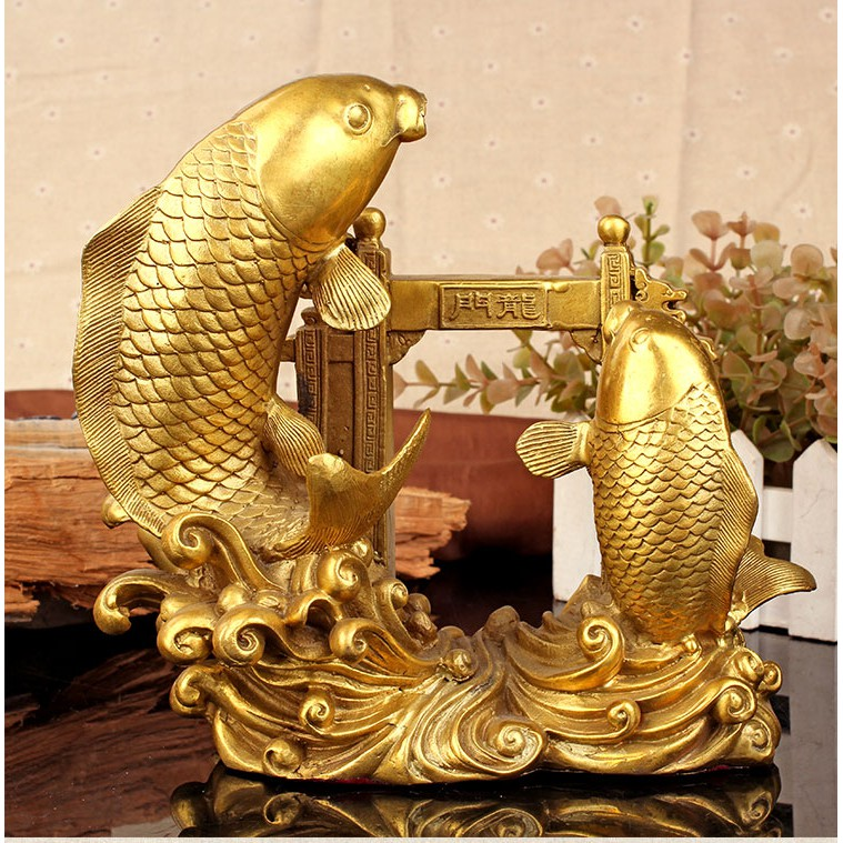 Tượng cá chép vượt Vũ Môn hóa rồng bằng đồng