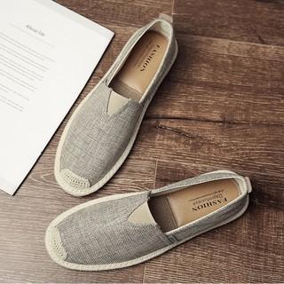 Slip on nam - Giày lười vải nam cao cấp - Vải bố màu rêu xám, mũi cói - Mã SP 2905 (có size 44) thumbnail