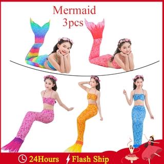 【Mermaid】3PCS/Set Girls Cosplay Mermaid Swimwear Children Beach Bikini Swimsuit Mermaid Swimwear Tails Swimsuit Bikini Sets Halloween Costume No Flipper