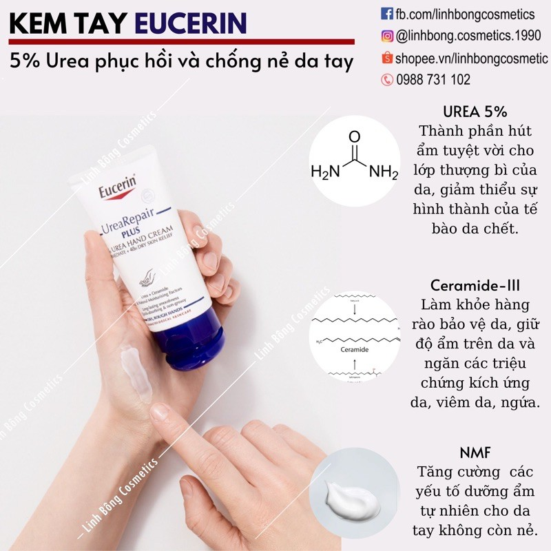 KEM DƯỠNG DA TAY EUCERIN UREA REPAIR PLUS 5% UREA + CERAMIDE & N.M.F 75ML (dưỡng siêu tốt)