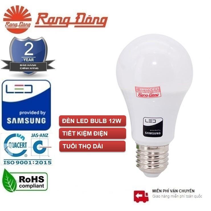 Bóng Đèn LED BÚP TRÒN 12W Rạng Đông, Chip LED SAMSUNG, Bảo Hành 24