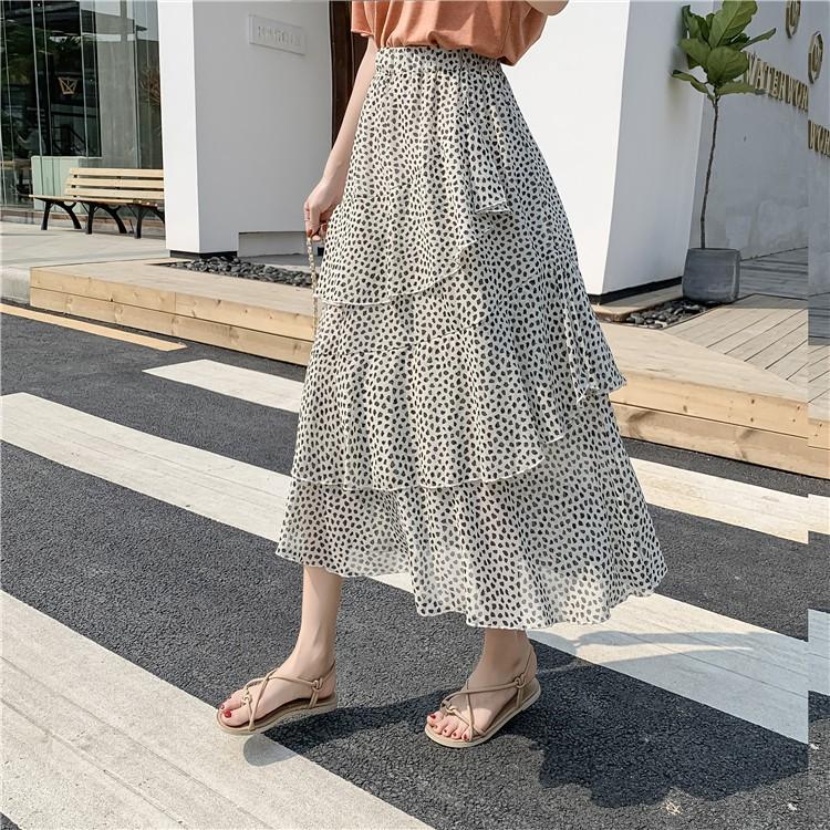 Chân váy Maxi lưng cao chất Chiffon hoạ tiết chấm bi cho phái nữ