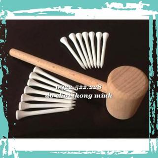 Đồ chơi kỹ sư nhí: búa gỗ và đinh gỗ, bi ve cho bé luyện ta