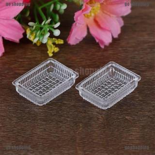 Set 2 khay đựng thực phẩm bằng resin mini tỉ lệ 1 12 dùng trang trí nhà búp bê thumbnail