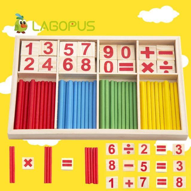 Bộ que tính học toán bằng gỗ – bảng tính que học toán cho bé