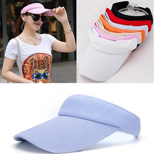 SMYR_Women's Adjustable Sunhat Plain Sports Mesh Visor Cap Tennis Golf Beach Hat