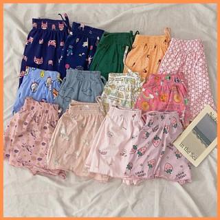 Mẫu ngẫu nhiên quần short thun xòe nhiều hoạ tiết cạp chun – Quần ngủ thái lan vải cotton mịn mát co giãn – MSP: P101