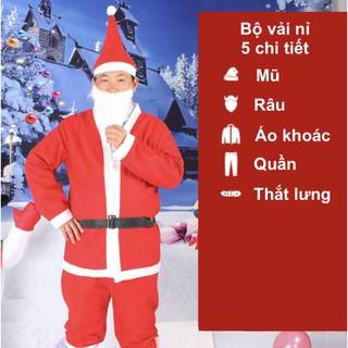 Bộ quần áo ông già Noel hay bộ trang phục noel người lớn vải nỉ 5 chi tiết