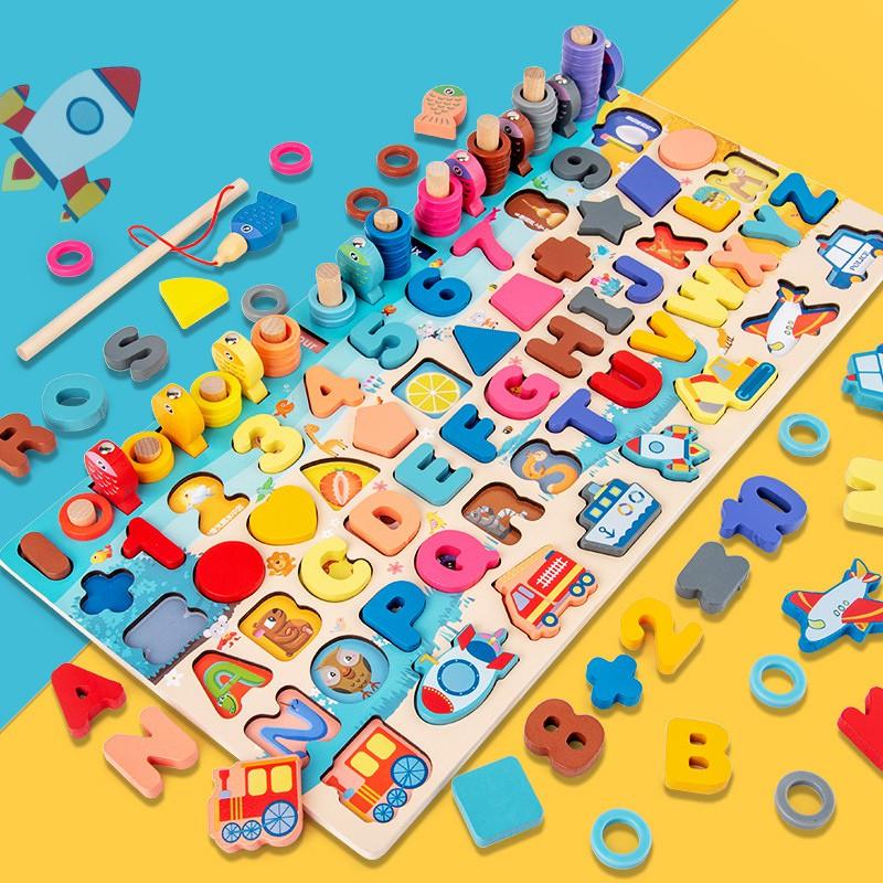 Đồ chơi gỗ thông minh NUNAKIDS 7 trong 1 đồ chơi cho bé gồm hình khối, bảng chữ cái và phương tiện