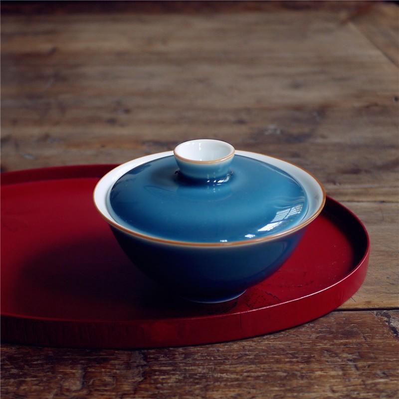 Tách đựng trà làm thủ công màu xanh