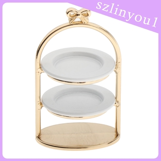 New Arrival 1:12 Dollhouse Miniature Gold 3-Tier Dessert Cake Bread Rack Stand Tray