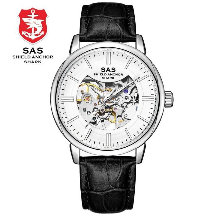 Đồng hồ cơ lộ máy nam SAS-123 dây da cao cấp