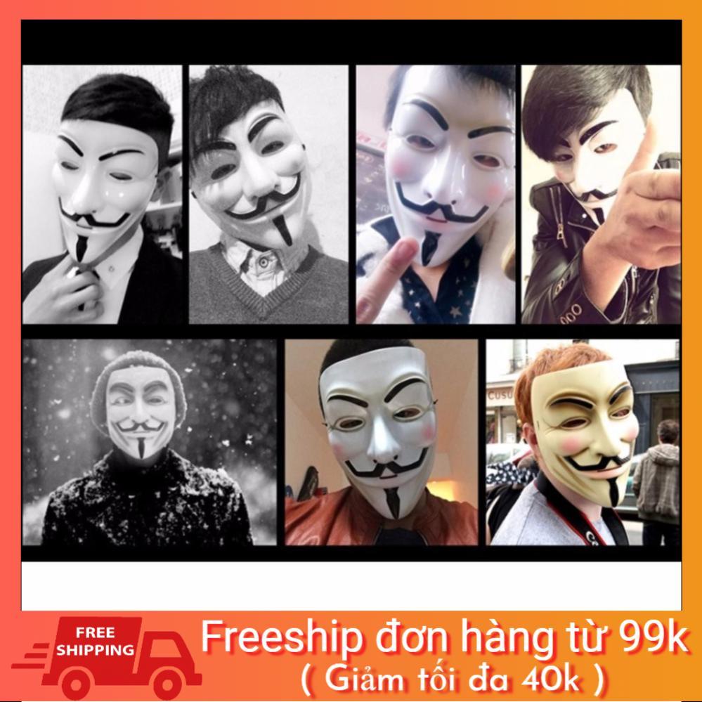 [Mã TOYFSS4 giảm 15k] Mặt nạ Hacker mặt nạ Anonymous hàng dẹp loại 1 (Trắng)