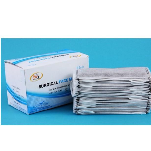 Bộ 10 Hộp Khẩu Trang y tế 4 lớp Hoạt Tính Nam Anh Xám hộp 50 cái Cao Cấp ( Loại dày)