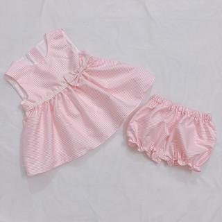 [FREESHIP] Set váy nơ hồng kèm quần nhún cho bé 1-6 tuổi thumbnail