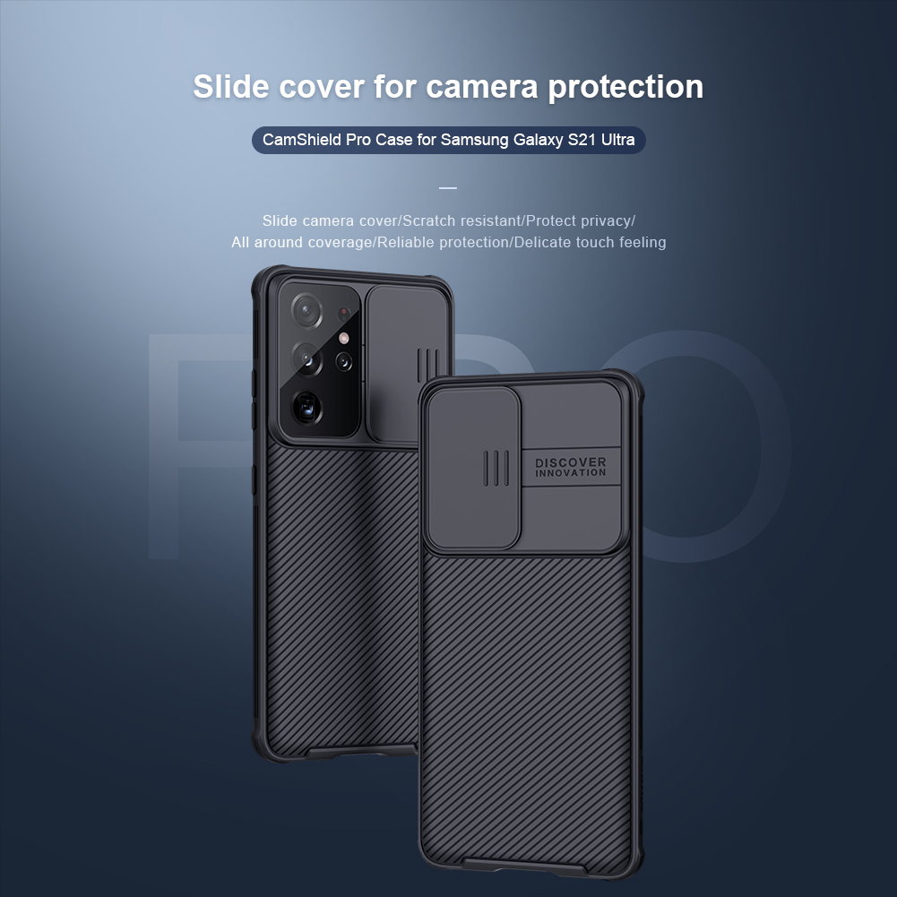 Ốp Điện Thoại Nillkin PC Cứng Sang Trọng Nắp Trượt Bảo Vệ Ống Kính Cho Samsung Galaxy S21/S21 Ultra/S21 Plus 5G