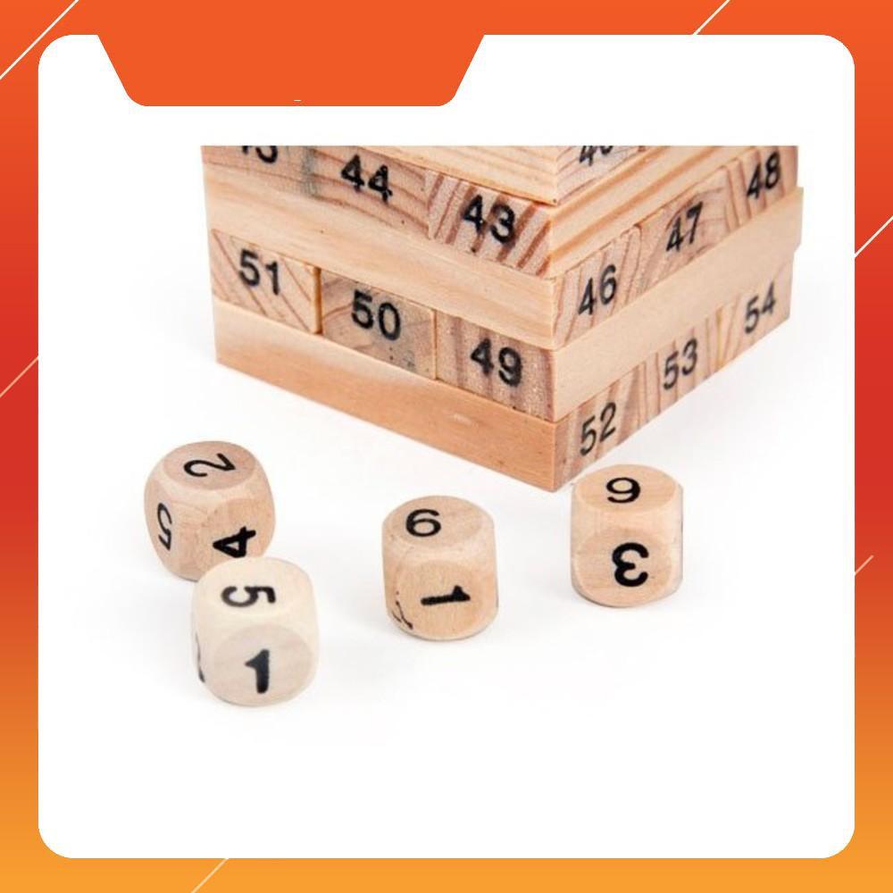 [ XẢ KHO 3 Ngày ] ]Bộ đồ chơi rút gỗ 48 thanh – kèm 4 xúc xắc gỗ (Loại To)