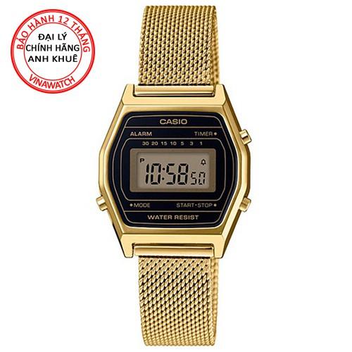 Đồng hồ Nữ Casio điện tử dây lưới kim loại vàng LA690WEMY-1DF - Chính hãng Casio Anh