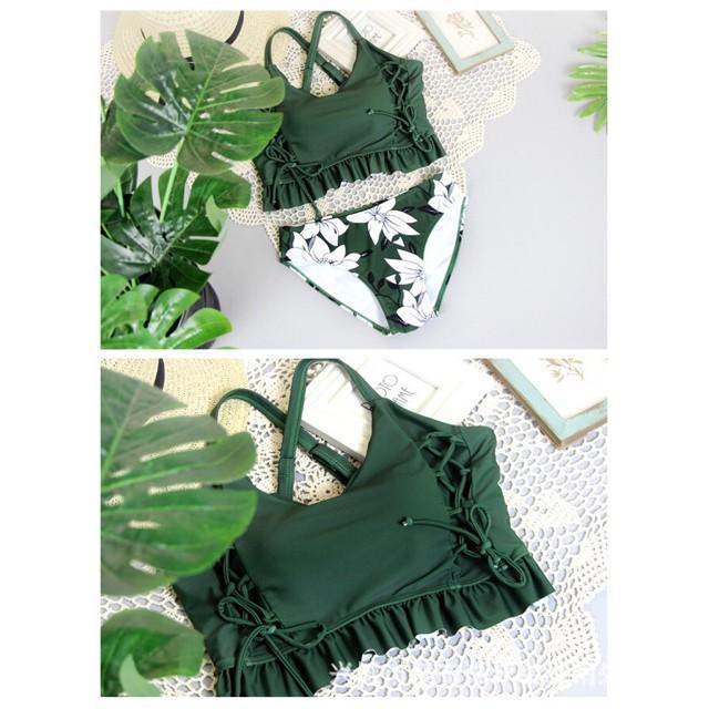 Đồ bơi Bikini 3 chi tiết màu xanh lá quần hoạt tiết hoa