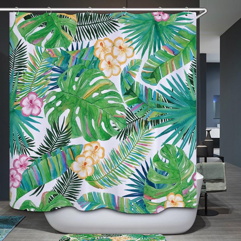 Rèm nhà tắm vải Polyester họa tiết hoa lá tươi mới độc đáo