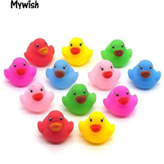 👶🏼12Pcs Mini Colorful Bathtime Kids Baby Bath Toy Ducks Squeaky Water Play Fun