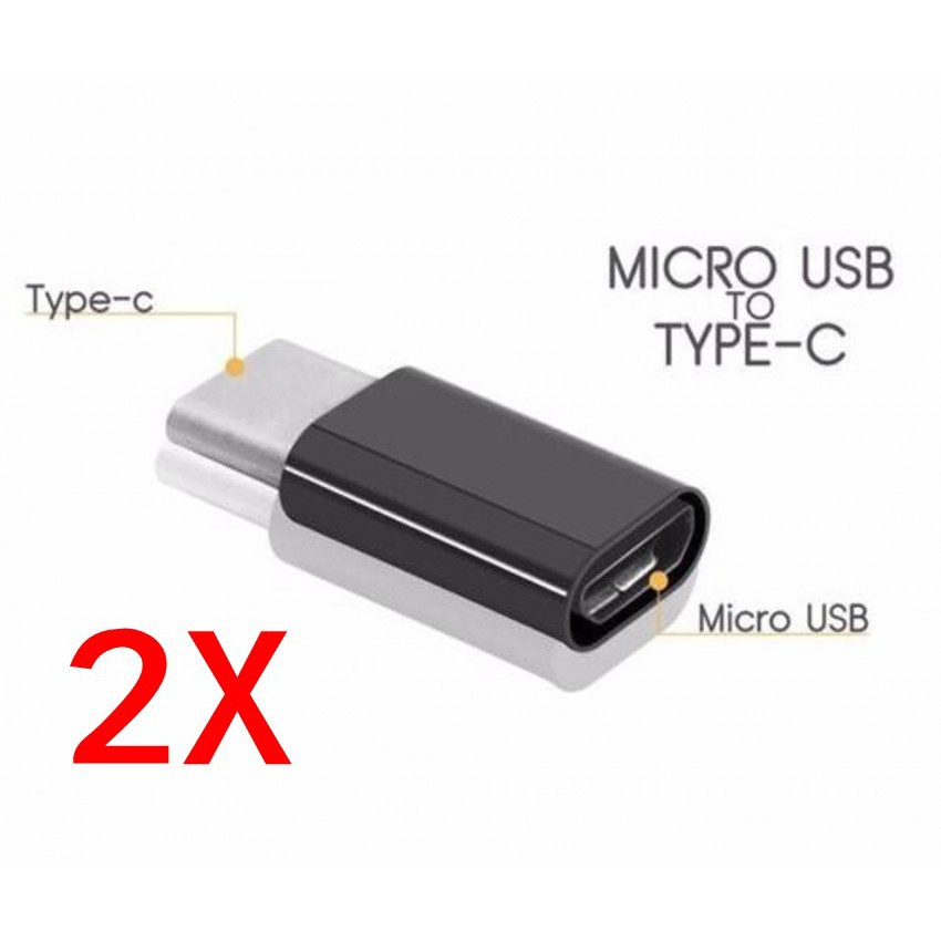 2Pack Micro USB to Type C Adapter Connector For  Samsung Huawei Xiaomi
