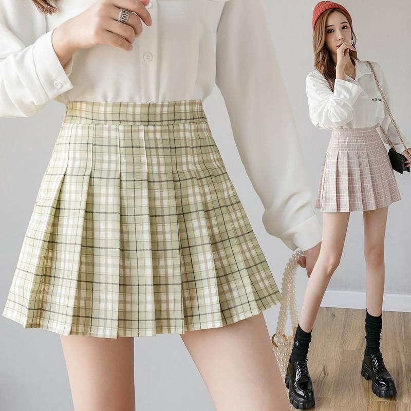 Chân váy mini xếp ly kẻ caro năng động trẻ trung phong cách Nhật Bản XS-2XL