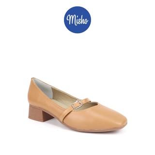 Giày búp bê da thật mũi vuông cao 3cm Misho 1158