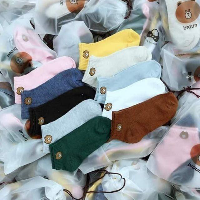 Sét 5 đôi tất nữ cổ ngắn hình gấu Brow vintage dễ thương