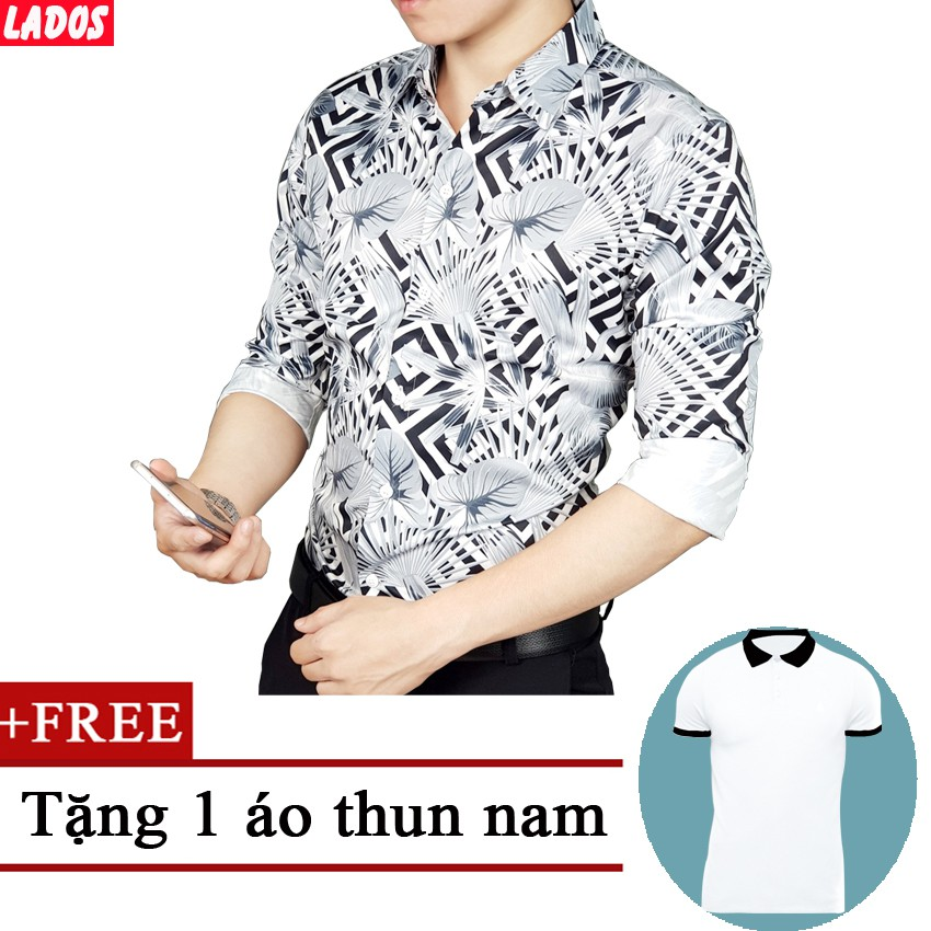 Áo sơ mi nam họa tiết Tặng áo thun nam LADOS-580