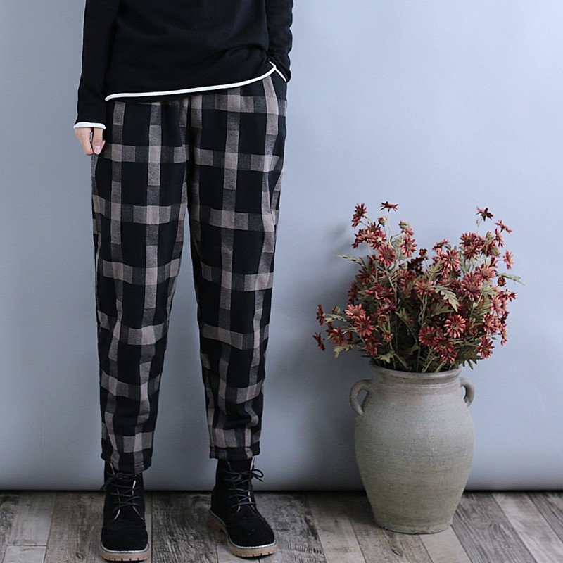 Qing Yi literary fan retro plaid cotton trousers female winter feet quilted cott