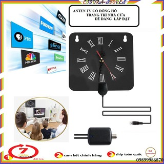 Anten DVB T2 thông minh thu sóng 100 dặm- ăng ten TV - kèm đồng hồ thumbnail