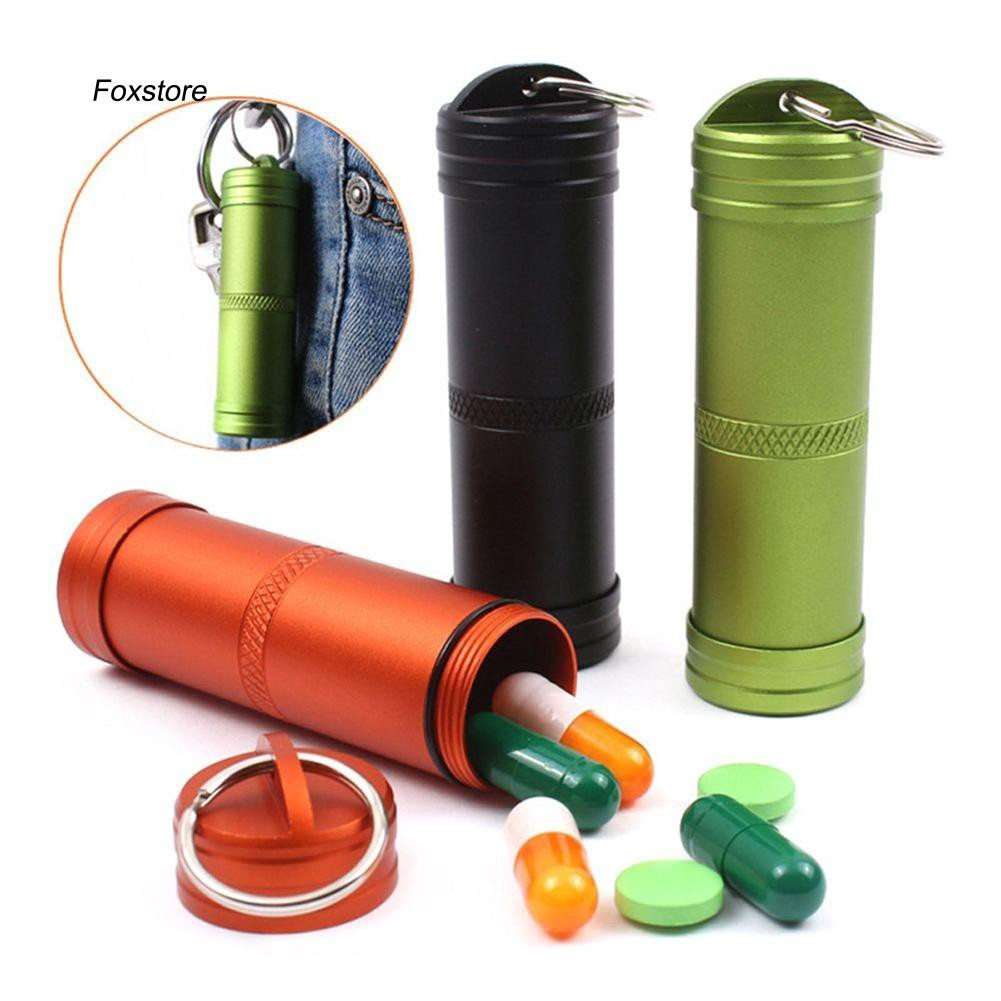 FXTE_Medicine Pill Capsule Case Box Bottle EDC Container Waterproof Outdoor Camping