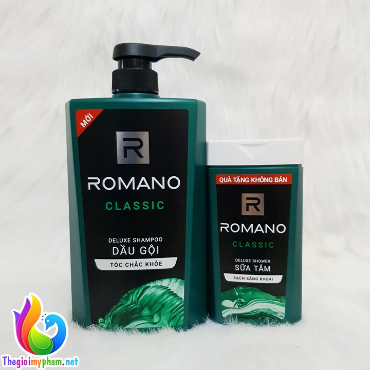 Dầu Gội Romano Classic 650g - Tặng Sữa Tắm Romano Classic 150g