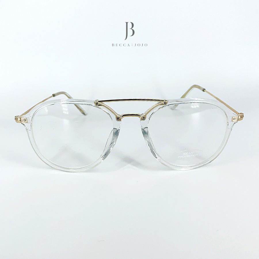 Giá bán Mắt Kính gọng tròn trong suốt, kính giả cận đi đường chống bụi, chất liệu nhựa dẻo cao cấp thời trang nữ Becca & JoJo