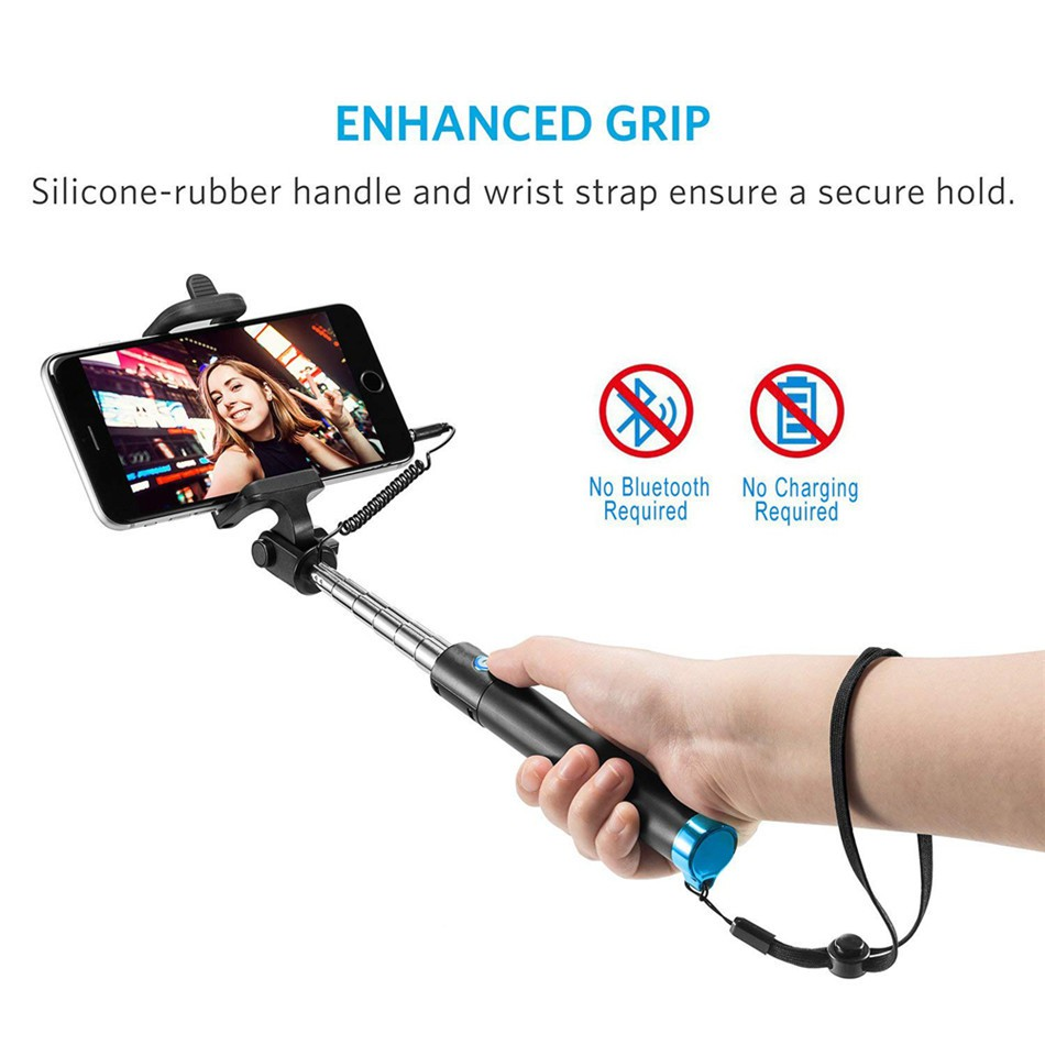 Selfie stick điện thoại monstick stand stand có nút điều khiển có dây cho điện thoại thông minh iPhone Android