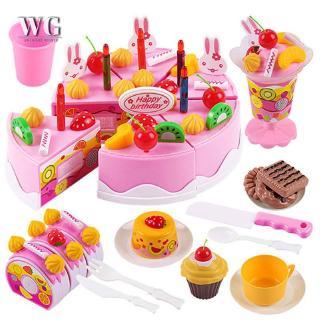 ♔WG♔ 38Pcs/54Pcs/75Pcs Birthday Cake DIY Model Children Kids Early Educational Pretend Play Kitchen Food Plastic Toys