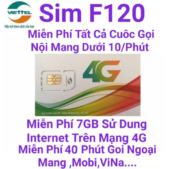 SIM 4G 10 Số Viettel F120 Miễn Phí Nghe Gọi.Tăng 7GB DATA Sử Dụng Internet Trên Mạng 4G.Tốc Độ Cao..