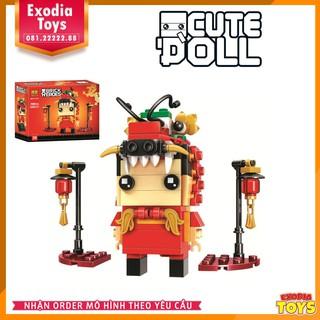 Bộ xếp hình BrickHeadz nhân vật múa Lân   Đồ Chơi Lắp Ghép Sáng Tạo   BrickHeadz BELA 11151 – Lego Ideas 40354
