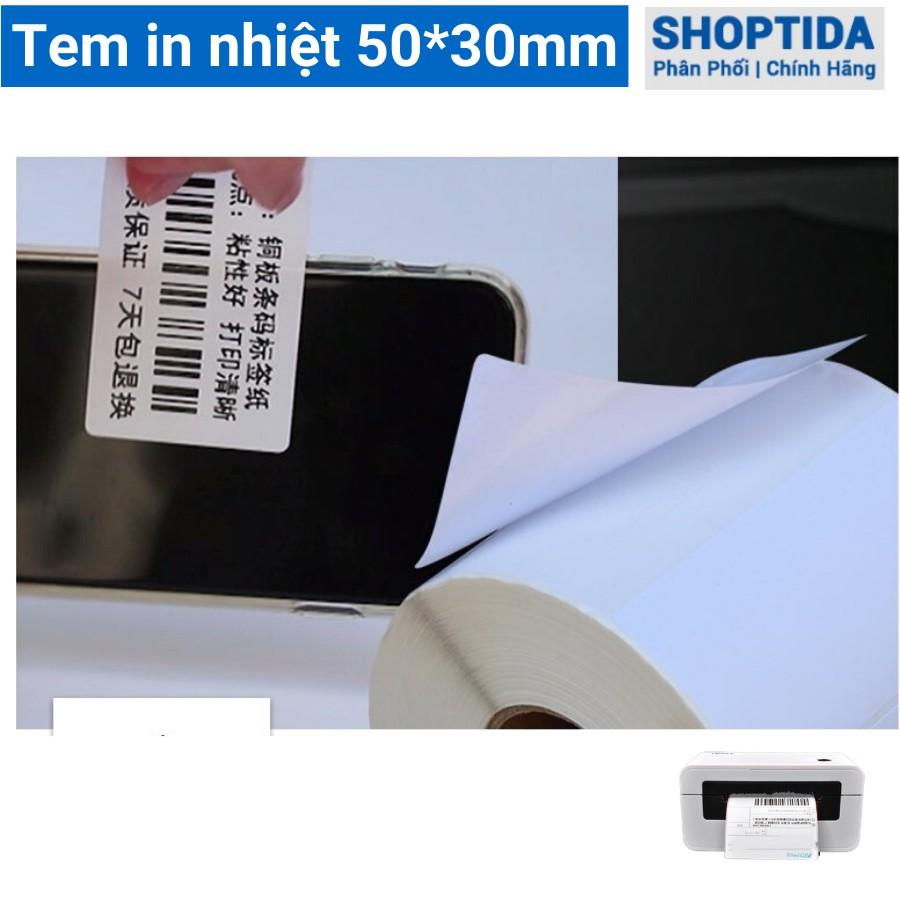 Tem in nhiệt Shoptida loại 1400 tem 50*53mm in minicode, qr code, lời cảm ơn, sử dụng cho máy in nhiệt Shoptida SP46