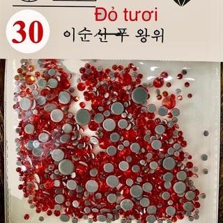 Túi Đá chân keo màu 30 mixsize trang trí móng