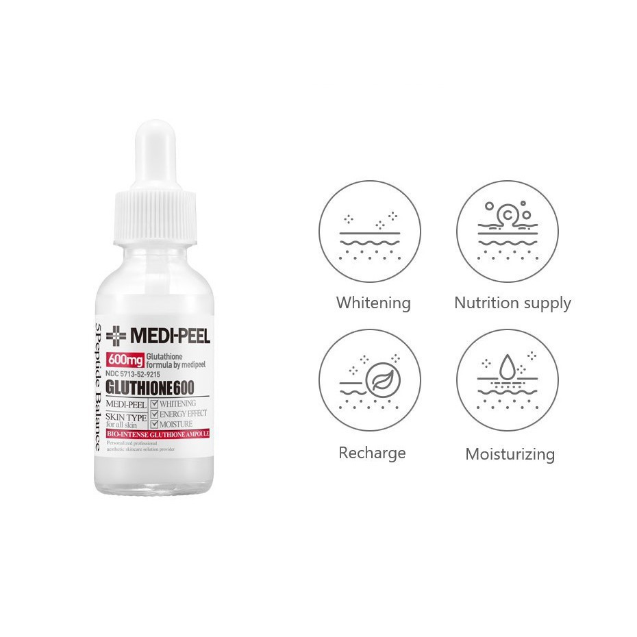 Serum Medi Peel [Trắng da 100%_Hàng Auth] Tinh Chất Dưỡng Trắng Medi Peel  Glutathione 600 White Ampoule Serum giá cạnh tranh