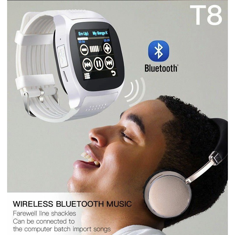 Smart Horloge met Camera Touch Screen T8 Bluetooth Slimme Horloge Ondersteuning SIM en TF card Camer