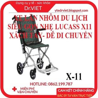 Xe lăn nhôm du lịch Lucass X-11-Dùng cho trẻ em, người nhẹ cân dưới 75kg thuận tiện cho việc di chuyển, gập lại gọn gàng thumbnail