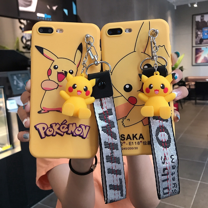 Case Vivo V15 V11i Y91C Y91 Y93 Y95 Y71 Y81 Y83 V5 V7 V9 V5plus Smile Pikachu Soft Case With Hand Rope