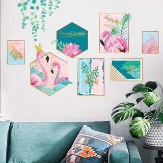 Tranh decal dán tường KHUNG ẢNH HẠC HỒNG MỚI trang trí phòng khách- Decal dán tường